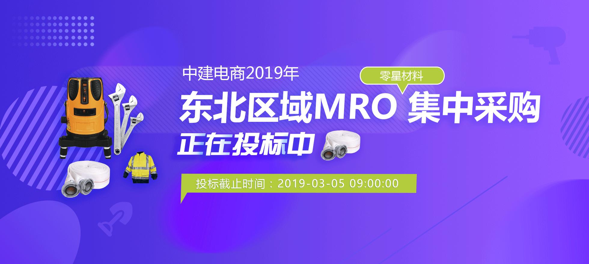 中建电商2019年东北区域MRO零星材料集中采购正在投标中